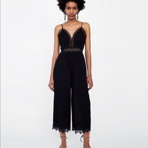 Pants - Swiss dot and lace jumpsuit
